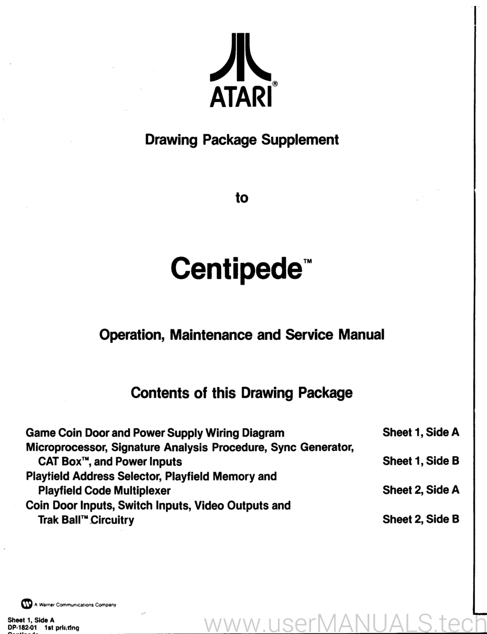 Atari Centipede Drawing Package Supplement Operation Maintenance Wiring Diagram And Service Manual