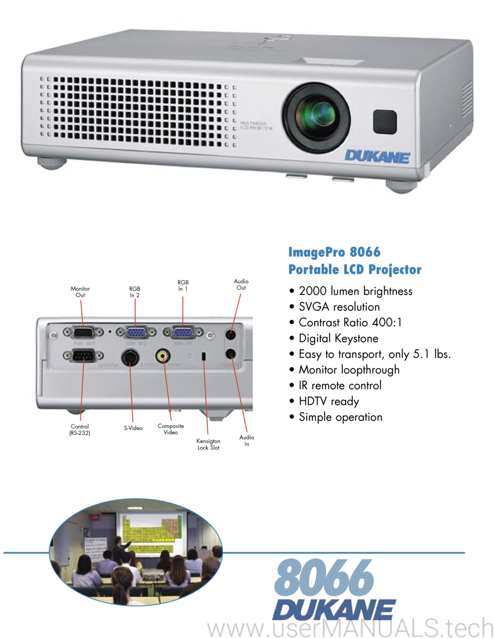 Dukane Imagepro 8066 Portable Lcd Projector Specifications Contrast Control For Lcds