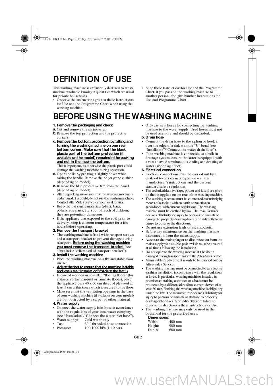 Whirlpool AWE 6519 User Guide