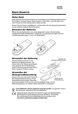 Bose Acoustic Wave music system II premium backlit remote