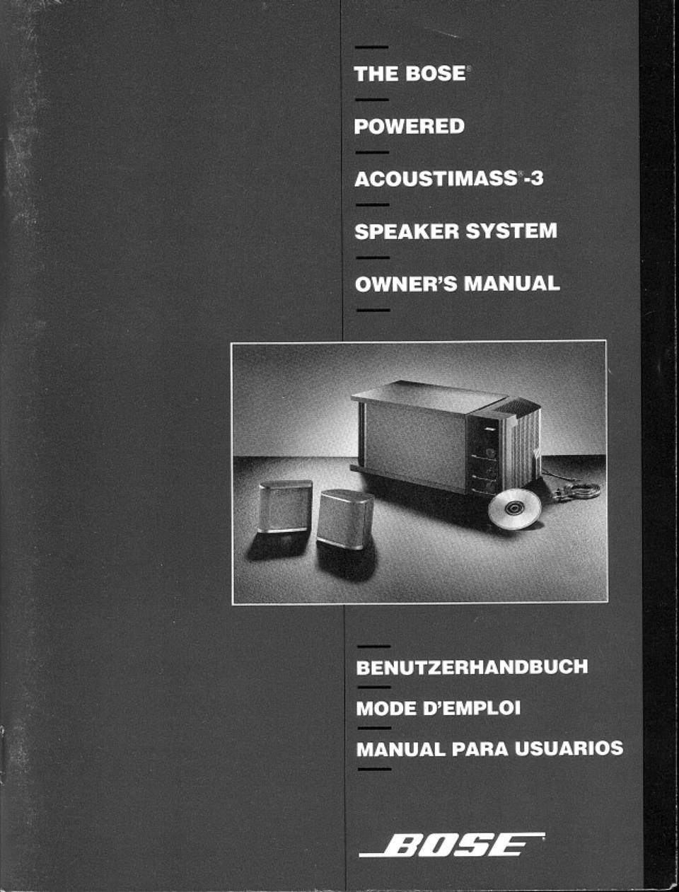 Bose Powered Acoustimass 3 Speaker System Sold From 1991 To 1994 Series V Black Start Reading User Manual