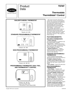 page 1 product data t s tat thermostats thermidistat tm control copyright  1999 carrier corporationtstat-4pd