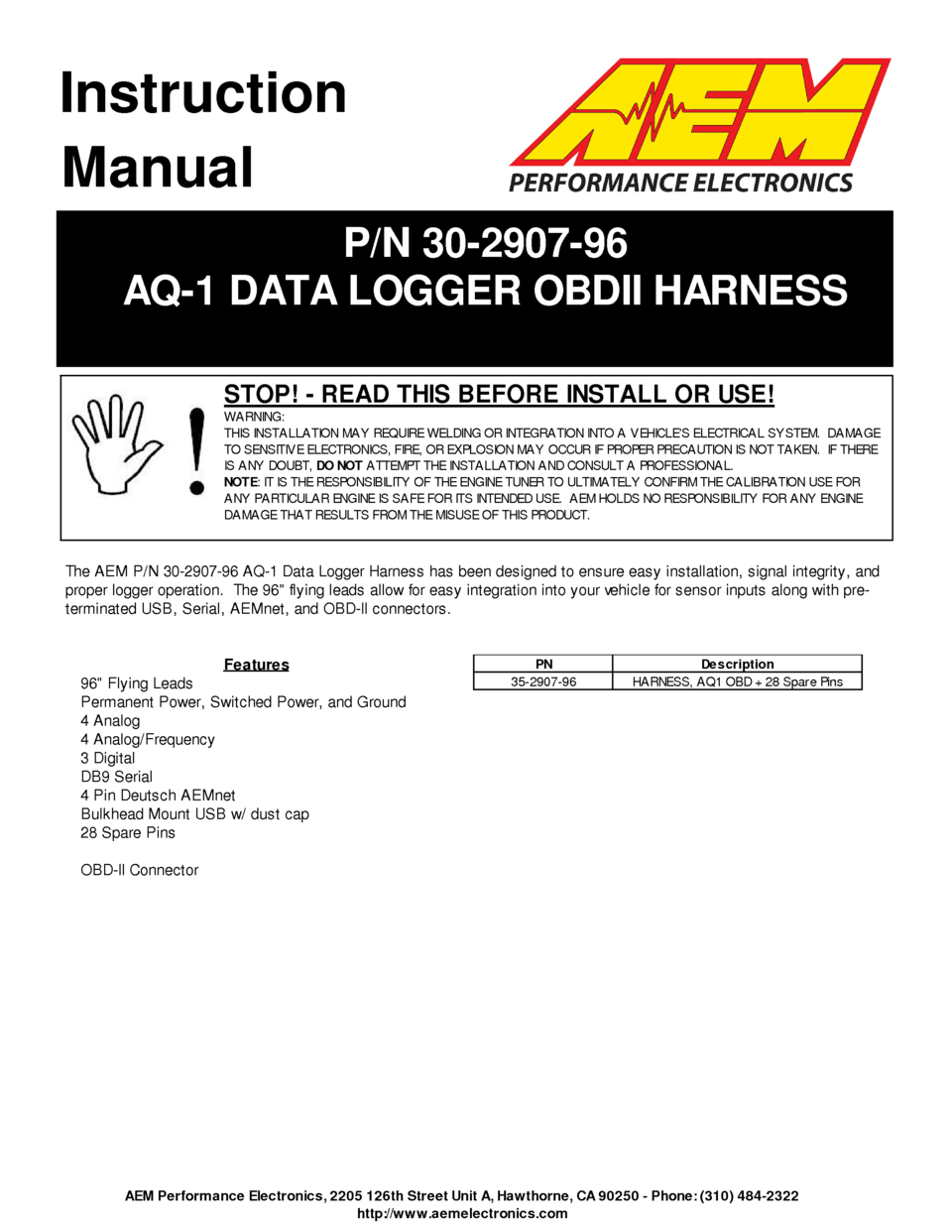 Aem Aq1 Obdii 96 Flying Lead Wiring Harness 30290796 User Guide Street Performance