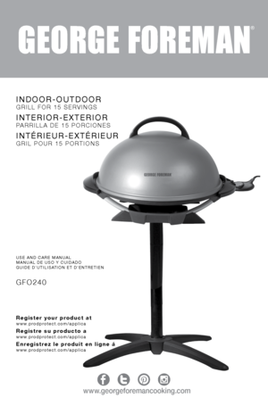 George Foreman IndoorOutdoor Electric Grill GFO240 User Manual
