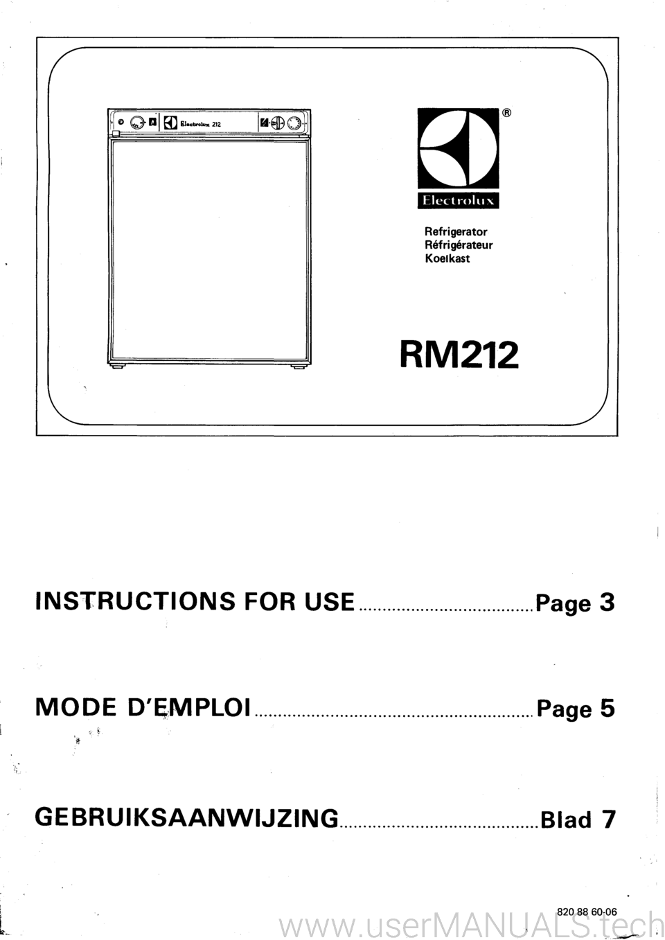 electrolux 3 way fridge rm212 instruction manual rh usermanuals tech Electrolux Refrigerators Parts Catalog Electrolux Professional Refrigerator