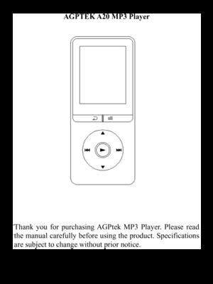 AGPtek A20 8GB Music Player User Manual