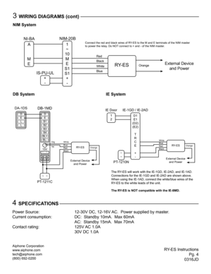 Aiphone RYES Instructions User Manual on aiphone intercom systems, aiphone ry 2.4l, aiphone lem-1dl control door release,