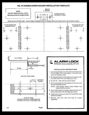 Start reading Alarm Lock Keypads Model 44 Double Door Holder Installation Template User Manual