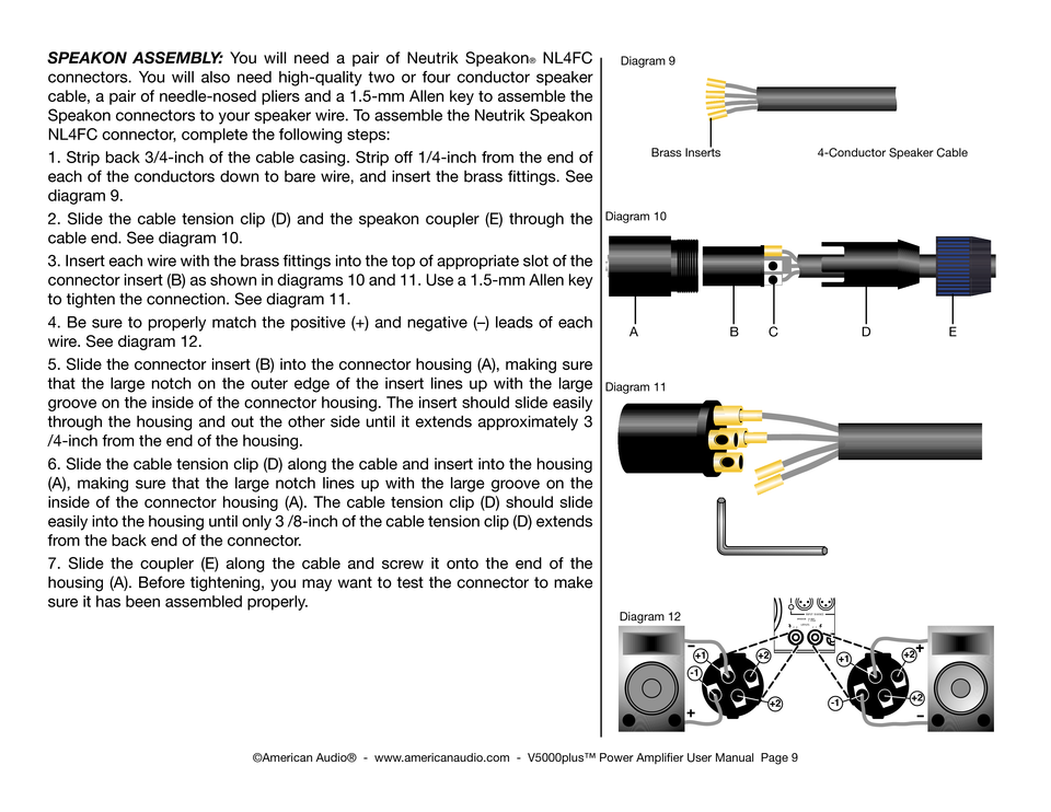 american audio amplifier v 5000 plus user manual page 9 speakon assembly you will need a pair of neutrik speakon® nl4fc connectors you will also need high quality two or four conductor speaker cable