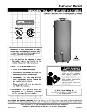american water heater 98 gallon high recovery natural gas water rh usermanuals tech american standard water heater manual american water heater parts manual