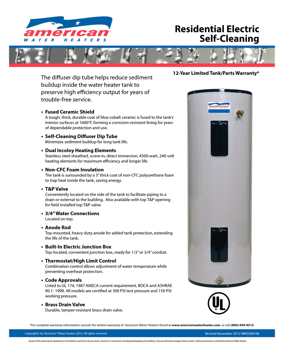 american water heater gallon short standard electric water 12 year limited tank parts warranty residential electricself cleaning the diffuser dip tube helps reduce sediment buildup inside the water heater tank to