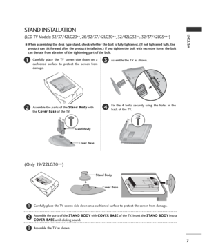 lg lg owners manual page 7 7 english 13 4 carefully place the tv screen side down on a cushioned