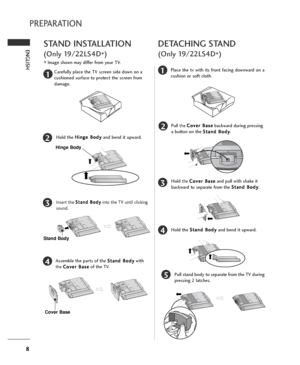 lg lg owners manual page 8 8 english preparation stand installation only 19 22ls4d acirc150nbspimage