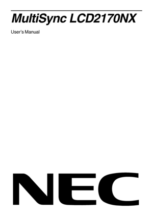 NEC MultiSync V551 Installation Manual