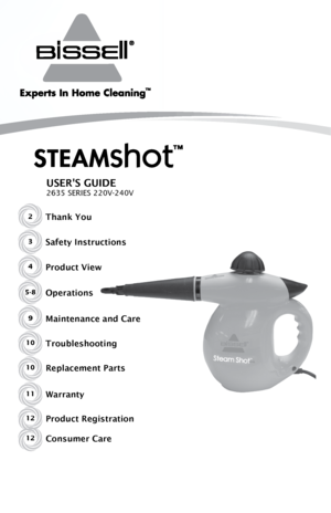 Bissell steam shot instruction manual