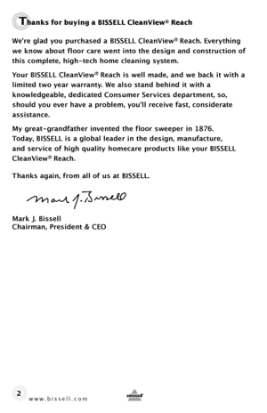 bissell cleanview reach instructions