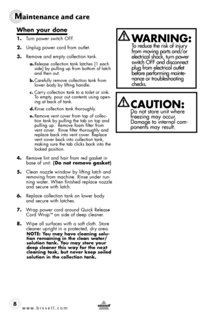 bissell quickwash carpet cleaner instructions