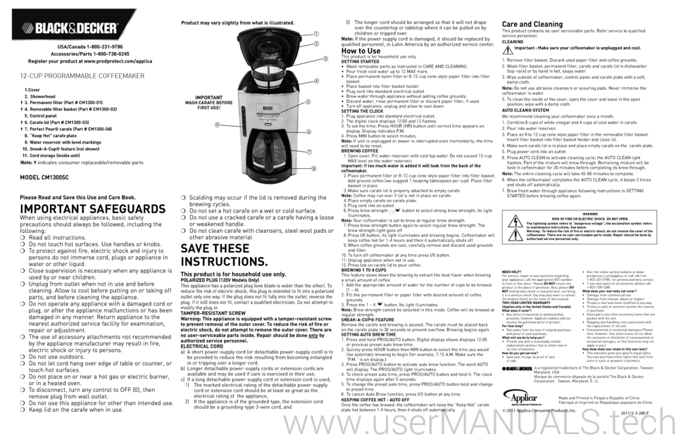 Black And Decker Coffee Maker Cm1300sc : Black and Decker Coffee Maker CM1300SC User Manual, Page: 2