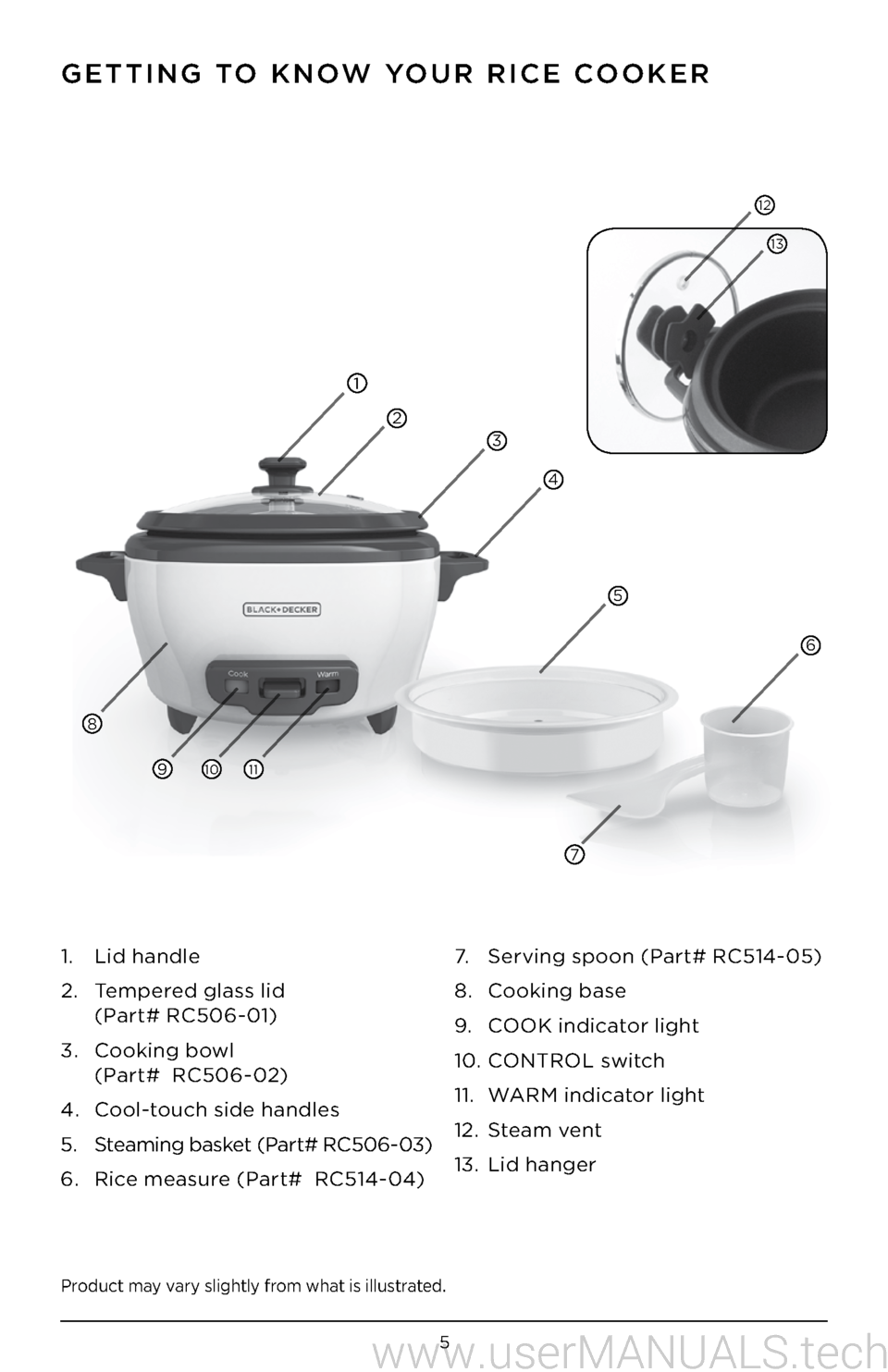 black and decker rice cooker rc506 user manual