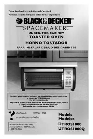 Black and Decker TOASTER OVEN TROS1000 User Manual