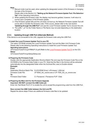 Panasonic UF 8100 YC User Manual