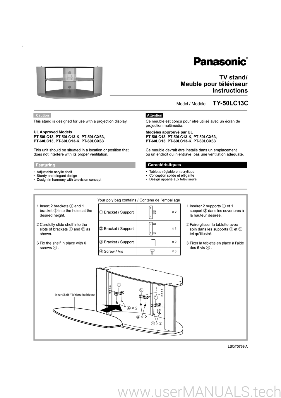 Panasonic Tv Stand Ty 50lc13c Instructions # Modele De Meuble De Television