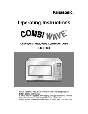 Panasonic Commercial Microwave Ovens Ne C1153 Operating