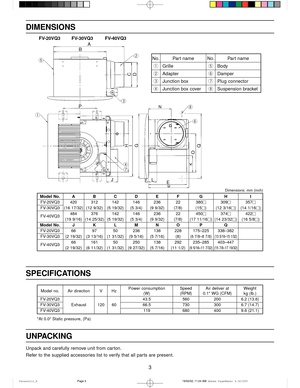 Panasonic ventilation fan fv 20vq3 installation instructions page 3 3 model no air direction v hzpower consumption speed air deliver at weight sciox Choice Image