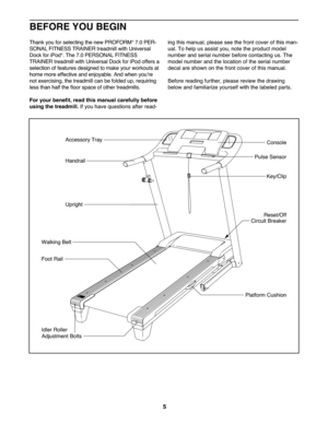 ProForm 7 0 Treadmill Manual