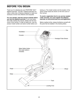 ProForm 500 F Owners Manual