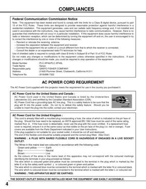 Sanyo Plc Xp46 Projector User Manual