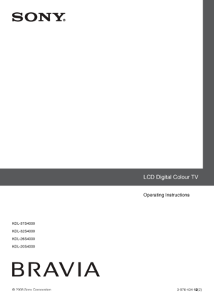 Sony Kdl 20s4000 Operating Instructions