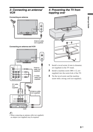 sony tv antenna. page 5 gb start-up guide 3: connecting an antenna/ vcr sony tv antenna 3
