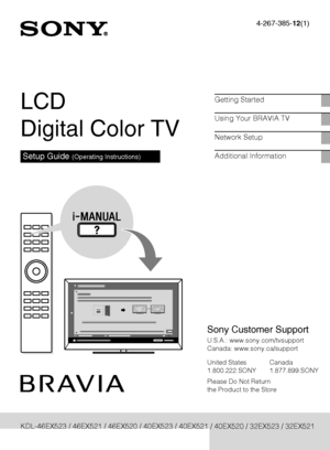 Sony Kdl 40ex521 Operating Instructions