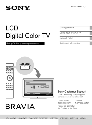 Sony Kdl 46cx520 Operating Instructions