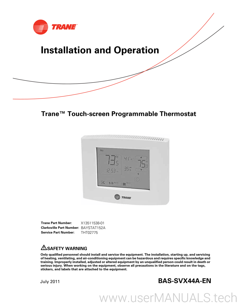 Trane Touchscreen Programmable Thermostat User Manual Wiring Guide Page 1 Touch Screen July 2011bas Svx44a En Installation